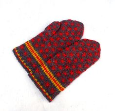 Knit mittens, knitted latvian mittens, handknit colorful gray red mitts natural wool winter gloves adult hand warmers women nordic mittens by peonijahandmadeshop on Etsy