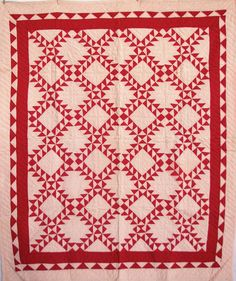 Vintage Quilt - Sawtooth Framed Square 1900 - Red White