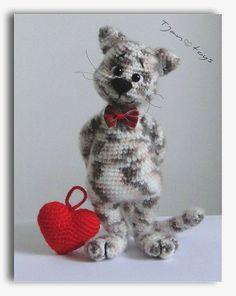 Katze mit Herz Valentinstag Tag Geschenk OOAK gefüllte von Tjan