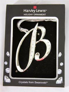 Harvey Lewis Christmas Holiday Ornament Swarovski Crystals Initial B Silver New