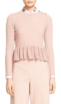 cf2bc64e3c6fc rib knit peplum pullover by Rebecca Taylor. A trio of embossed buttons  gleams softly at