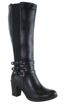 Olivia Miller Knee High Triple Buckle Block Heel Gore Boots in Black