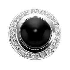 STORY by Kranz & Ziegler Sterling Silver Onyx and Clear CZ Button