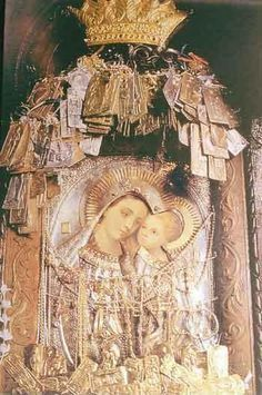 """Miraculous icon of Panagia Giatrissa(All-Holy Virgin """"the Healer""""), Loutraki Peloponnisos Greece. Covering the icon are signs of the many healings worked by the Theotokos. Blessed Mother Mary, Blessed Virgin Mary, Religious Images, Religious Art, Religious Icons, Jesus Father, Mom Birthday Quotes, Religion, Mama Mary"""