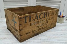 Teacher's Highland Cream Whisky Crate available from Old Time Pickers Wooden Crate Boxes, Old Wooden Crates, Wood Boxes, Vintage Crates, Vintage Wood, Shipping Crates, Wine And Beer, Home Brewing, Crate And Barrel