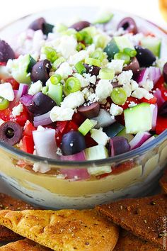 7 Layer Greek Hummus Dip - This Greek-inspired hummus dip has 7 tasty layers and comes together in just minutes! Easy, healthy, and crazy delicious! Lebanese Recipes, Greek Recipes, Dip Recipes, Easy Dinner Recipes, Snack Recipes, Cooking Recipes, Israeli Recipes, Cooking Tips, Salad Recipes