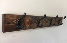 Rustic wood wall coat rack entryway storage distressed  by TreetopWoodworks