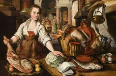 A Maid in a Kitchen with Christ in the House of Martha and Mary in the background  Joachim Beuckelaer (Antwerp c.1533 – Antwerp 1574)  National Trust Inventory Number 792028 Scotney Castle © NTPL