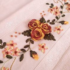 Wonderful Ribbon Embroidery Flowers by Hand Ideas. Enchanting Ribbon Embroidery Flowers by Hand Ideas. Ribbon Embroidery Tutorial, Hand Embroidery Flowers, Silk Ribbon Embroidery, Hand Embroidery Patterns, Embroidered Flowers, Embroidery Stitches, Embroidery Designs, Crochet Flower Tutorial, Crochet Flowers