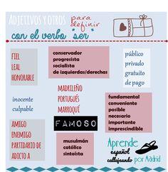 Adjetivos y expresiones para describir que suelen usarse con el verbo SER y no con ESTAR