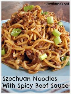 Szechuan Noodles With Spicy Beef Sauce With Ground Beef, Onions, Minced Garlic, Fresh Ginger, Crushed Red Pepper, Sesame Oil, Corn Starch, Beef Broth, Hoisin Sauce, Soy Sauce, Chinese Noodles, Sliced Green Onions