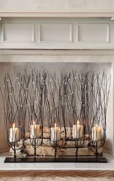 So many great ideas for non working fireplace! Candles on top of ...