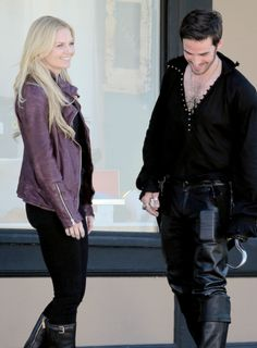 Once Upon a Time season 4, behind the scenes. Captain Swan.