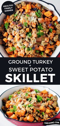 This ground turkey sweet potato skillet is a recipe that I guarantee you'll have on repeat. Made with easy ingredients y Healthy Family Dinners, Healthy Meal Prep, Ground Turkey Dinners, Dinner With Ground Turkey, Easy Ground Turkey Recipes, Ground Turkey Soup, Ground Turkey And Sweet Potato Recipe, Ground Turkey Casserole, Sweet Potato Dinner