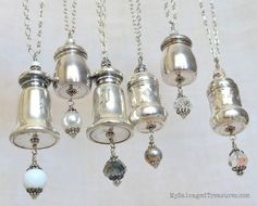 Vintage Salt and Pepper Shaker upcycle: Necklaces, pretty ornaments, light pulls, chandelier doodads, whatever...