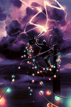 Not sure what he is doing, but the christmas lights make this so fascinating, and draw your attention.