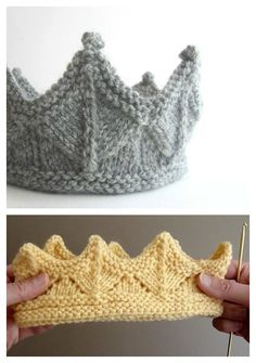 Knitted Crown Free Knitting Pattern and Video Tutorial Crown Free. - Knitted Crown Free Knitting Pattern and Video Tutorial Crown Free Knitting Pattern a - Loom Knitting, Free Knitting, Knitting And Crocheting, Toddler Knitting Patterns Free, Knitting Toys, Knitting Machine, Knitting For Kids, Vintage Knitting, Knitting Needles