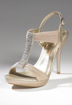 Shoes - High Heel Center Rhinestone Band Sandal from Camille La Vie and Group USA