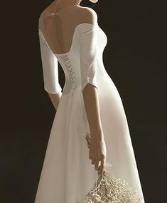 Black Bridal Dresses, Prom Dresses With Sleeves, Civil Wedding Dresses, Bridal Wedding Dresses, Champagne Evening Dress, Banquet Dresses, Minimalist Dresses, Off Shoulder Wedding Dress, Half Sleeves