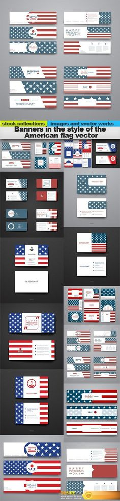 Banners in the style of the American flag vector, 15 x EPS Flag Vector, Banner Vector, Creative Banners, Vector Graphics, American Flag, Finding Yourself, Image, Design, Style