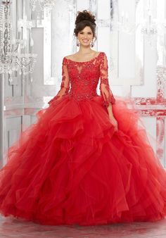 Bell Sleeved Quinceanera Dress by Mori Lee Vizcaya Style 89153