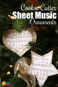 These Cookie Cutter Sheet Music Ornaments are really easy for kids to make but they look so pretty on the Christmas tree. A cereal box, some printed sheet music (link included in the post), and glitter glue is all it takes. Christmas Crafts For Toddlers, Christmas Activities, Holiday Crafts, Kids Crafts, Family Crafts, Valentine Crafts, Spring Crafts, Easy Ornaments, Homemade Ornaments