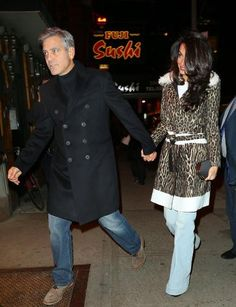 Amal Clooney might wear Ede & Ravenscroft on the job, but her date night style is much cooler than that. In New York, she wore a Giambattista Valli cheetah print belted coat with wide-legged pants for a casual night out.