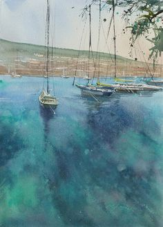 Bodrum, Turkey I by Keiko Tanabe Watercolor ~ 11 1/2 x 8 1/4 inches (29 x 21 cm)