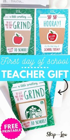 A First Day of School Teacher Coffee Gift is a great way to start the school year off right. Print the free cards right from home. Two cute designs to choose from! #freeprintable #backtoschool Teacher Gift Tags, Preschool Teacher Gifts, Teacher Cards, Teacher Appreciation Gifts, First Day School, Back To School Teacher, Back To School Gifts, School Days, School Stuff