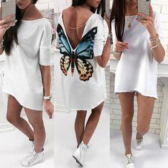 High-Low Hem Butterfly V Back T-shirt