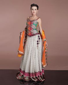 Georgette white #lehenga with contrast dupatta  To buy this, click http://weddingshop.bigindianwedding.com/whats-new/biw00000732.html#