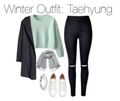 """""""Winter Outfit: Taehyung"""" by kookiechu ❤ liked on Polyvore featuring H&M, Vero Moda and West Coast Jewelry"""