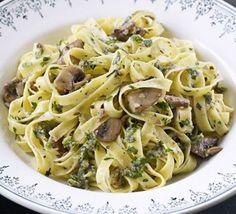 Roasted chestnut & herb pesto pasta with mushrooms recipe - Recipes - BBC Good Food Vegetarian Facts, Vegetarian Main Course, Vegetarian Recipes, Vegan Meals, Chestnut Recipes, Roasted Chestnuts, Bacon Stuffed Mushrooms, Bbc Good Food Recipes, Recipes