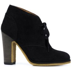 See By Chloé 'Jona' ankle boots ($173) ❤ liked on Polyvore featuring shoes, boots, ankle booties, black, black lace up booties, black ankle boots, black booties, black suede boots and high heel booties