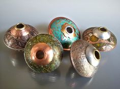 Patina Challenge - Metal UFO beads by Jayne LaRette - on Artisan Whimsy. They're made of copper, brass, & aluminum. I applied gilder's paste for their patinas. Mixed Metal Jewelry, Metal Beads, Metal Jewellery, Jewlery, Enamel Jewelry, Beaded Jewelry, Silver Jewelry, Handmade Beads, Handcrafted Jewelry