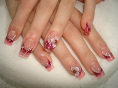 ♥ Acrylics - Red Glass French