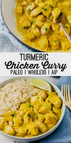 This turmeric chicken curry is flavorful filling and packed with anti-inflammatory ingredients! It's paleo and AIP compliant. This turmeric chicken curry is flavorful filling and packed with anti-inflammatory ingredients! It's paleo and AIP compliant. Paleo Menu, Paleo Dinner, Paleo Food, Dinner Healthy, Healthy Food, Breakfast Healthy, Breakfast Muffins, Breakfast Smoothies, Breakfast Casserole
