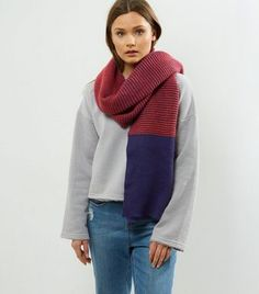 Navy Colour Block Scarf | New Look