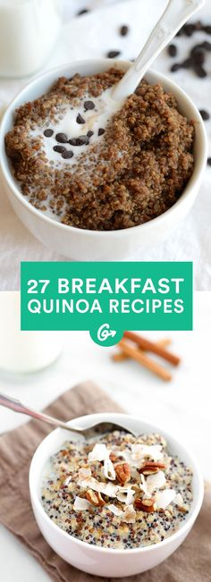 27 Breakfast Quinoa Recipes That'll Make You Forget All About Oatmeal Suitable for sweet or savory moods and easy to throw together in minutes, these make the perfect weekday morning meal. - Quinoa isn't just for savoury meals Weight Watcher Desserts, Think Food, Love Food, Vegan Recipes, Cooking Recipes, Crockpot Recipes, Easy Recipes, Dinner Recipes, Celiac Recipes