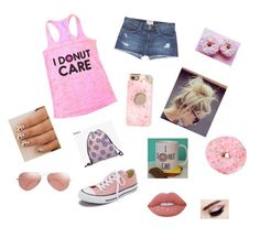"""I donut care"" by jojosoftball19 ❤ liked on Polyvore featuring Current/Elliott, Casetify, Converse, Ray-Ban and Lime Crime"