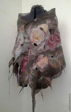 Silk Roses, Pink Silk, Felt Fabric, Fabric Art, Nuno Felting, Needle Felting, Felt Wall Hanging, Nuno Felt Scarf, Creative Textiles