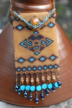 Desert Oasis Beaded Amulet Bag by KilikaDesigns on Etsy, $99.00