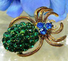 GORGEOUS UNIQUE VINTAGE BLUE GREEN PAVE RHINESTONE SPIDER ARICHNID PIN BROOCH!