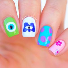 "Disney monsters inc nails "" disney nails in 2019 nailart, pe Monster University Nails, Monster Inc Nails, Cute Acrylic Nails, Cute Nail Art, Cute Nails, Disney Nail Designs, Red Nail Designs, Disney Nails Art, Easy Disney Nails"
