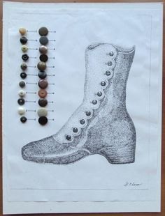 Mounted Collection of 22 Different Types of Antique Shoe Buttons