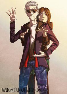 Strike a Pose  12th Doctor and Clara Art Print by RandomThunkArts