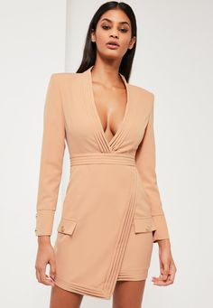 Missguided - Peace   Love Nude Tailored Pleat Wrap Dress