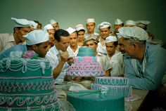 former soldiers study cake decorating at a vocational school in Puerto Rico, april 1951