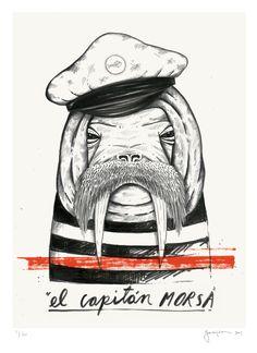 """El Capitan Morsa"" Acrylic and pen on paper. © Dani Garreton"