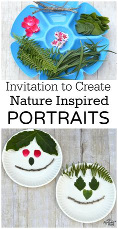 Use items from nature to create a portrait kid craft.